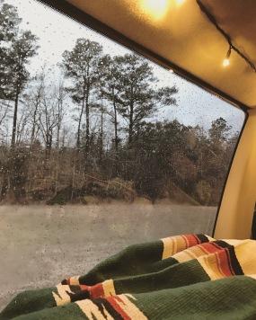 Cozy in the van on a rainy day