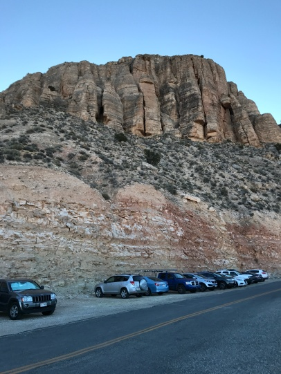Cars parked at the trailhead
