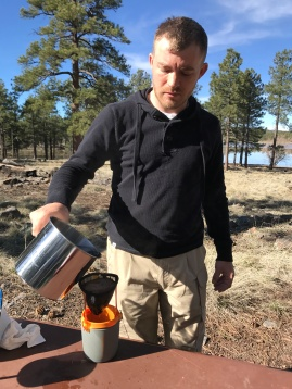 Steve using the drip coffee filter