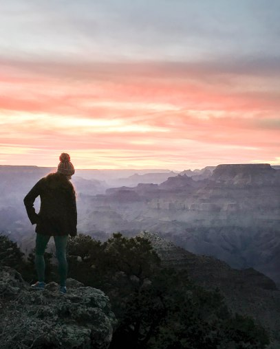 Brilliant pink skies over the Grand Canyon