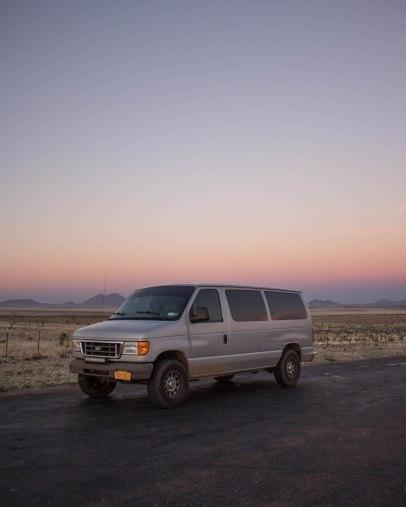 Texas desert at sunset