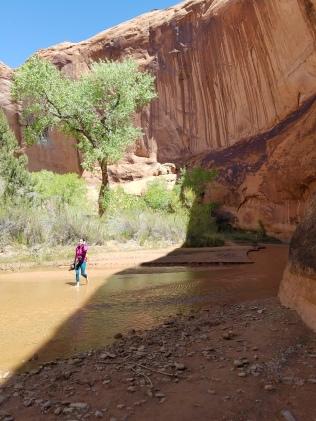 Walking barefoot through the river