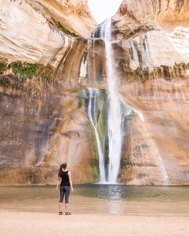 Admiring the waterfall