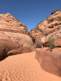 The sandy wash leading to the slot canyons