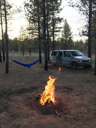 Fire + hammock + van