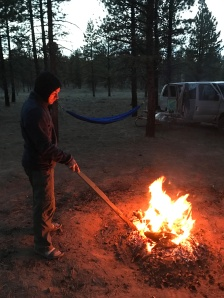 Steve poking the fire