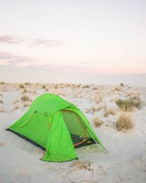 Our lightweight Cabela's tent was perfect for White Sands